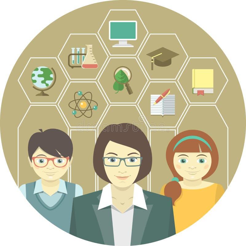 Vrouwenleraar en Leerlingen vector illustratie