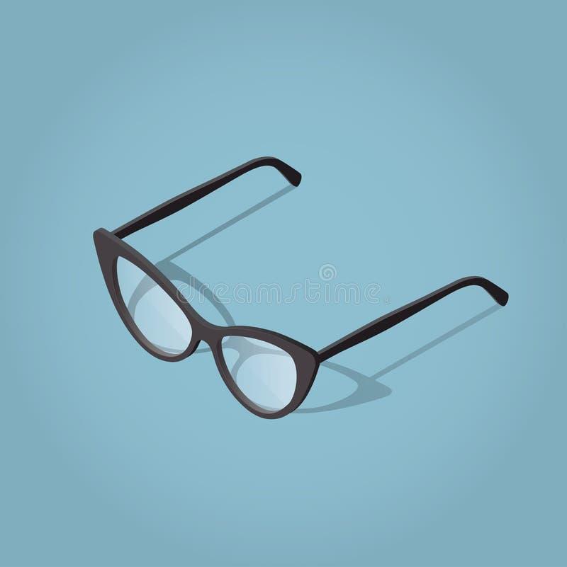Vrouwenleraar Glasses voor lezing stock illustratie