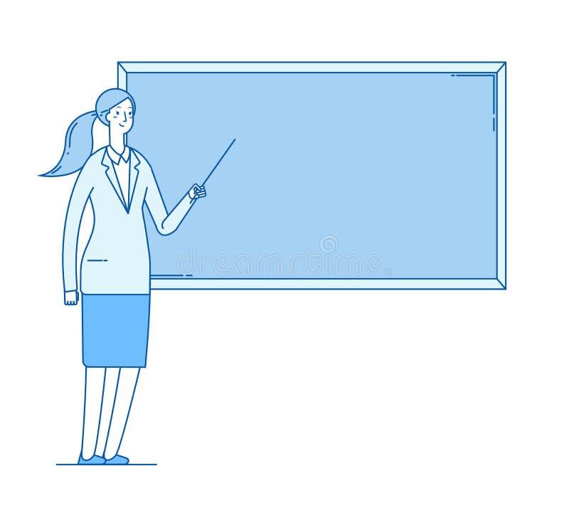 Vrouwenleraar Het jonge vrouwelijke professorsonderwijs bij bord in van de het onderwijs het vectorlijn van de klaslokaalschool v vector illustratie