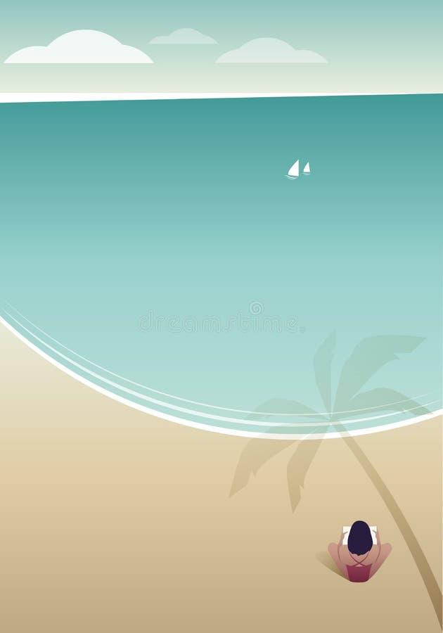 Vrouwenlezing op een eenzaam strand onder de schaduw van een palm vector illustratie
