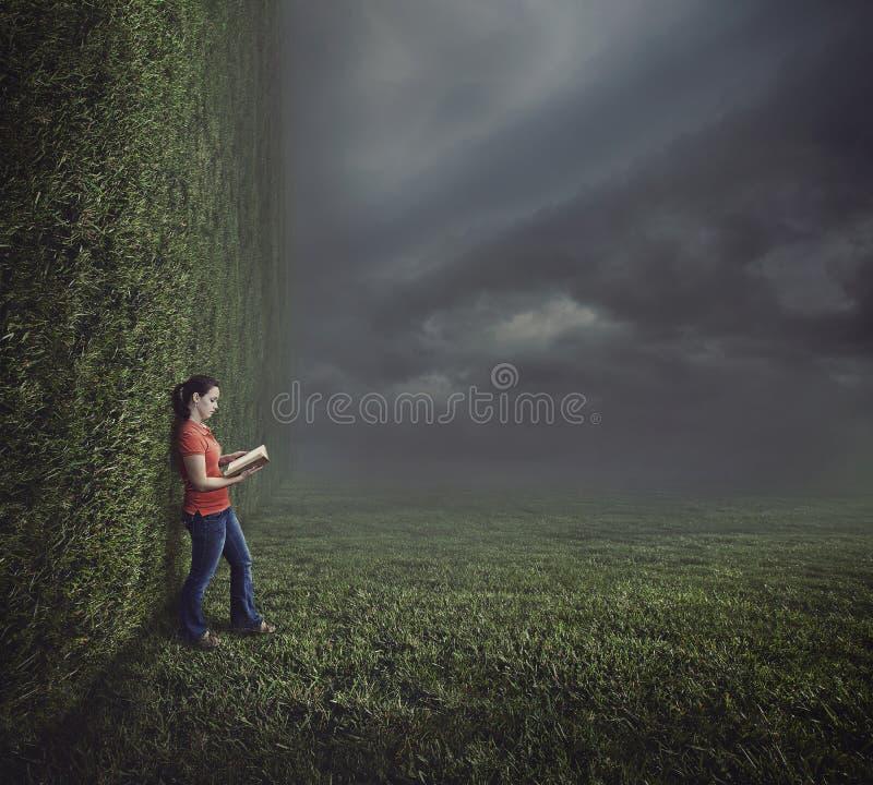 Vrouwenlezing op surreal landschap. stock afbeeldingen