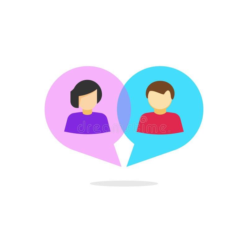 Vrouwenman verhoudings vectorconcept, die logotype, de mededeling van de liefderelatie babbelen stock illustratie