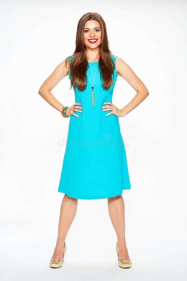 Vrouwenmannequin in blauwe cocktailkleding stock afbeelding