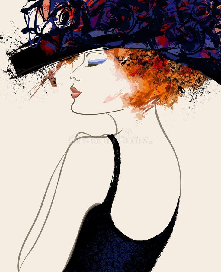 Vrouwenmannequin met hoed royalty-vrije illustratie