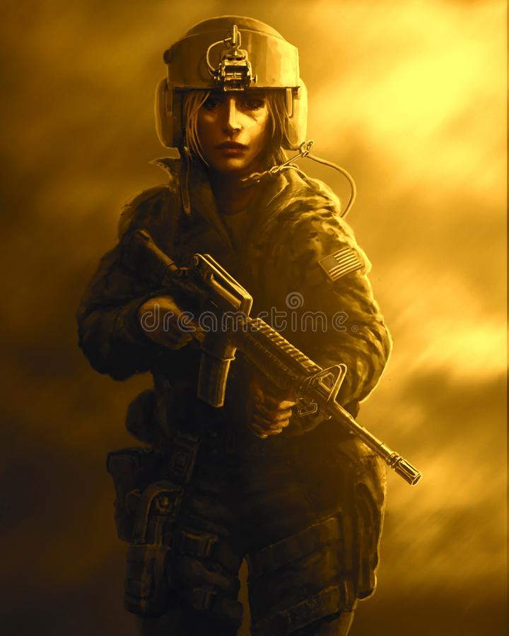 Vrouwenmilitair in een helm en met aanvalsgeweer in hun handen vector illustratie