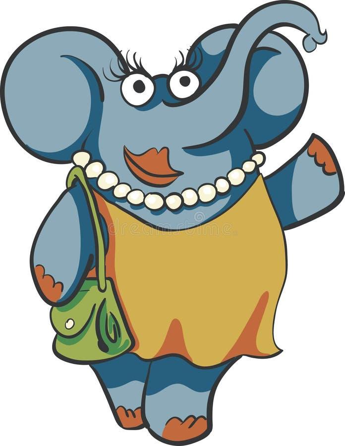 Vrouwenolifant met beurs en parels stock illustratie