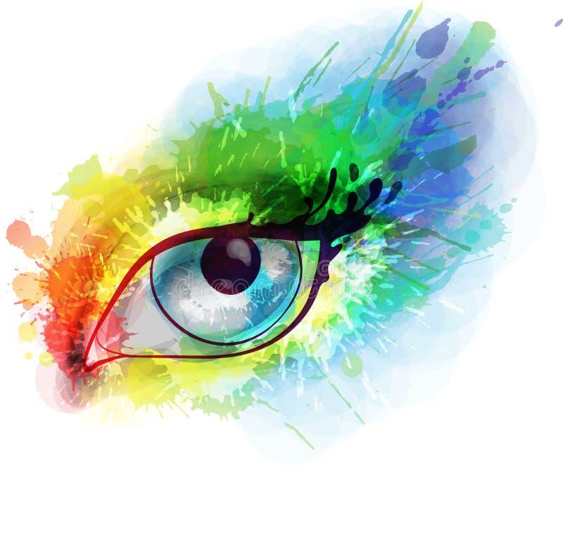 Vrouwenoog gemaakte kleurrijke plonsen stock illustratie