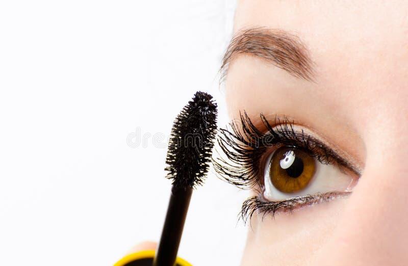 Vrouwenoog met mascara stock foto's