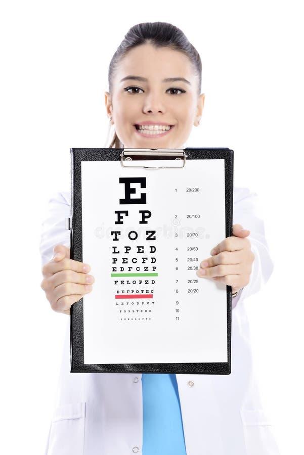 Vrouwenopticien of optometrist royalty-vrije stock afbeelding