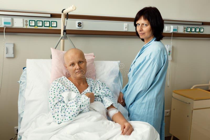 Vrouwenpatiënt met kanker in het ziekenhuis met vriend stock afbeelding