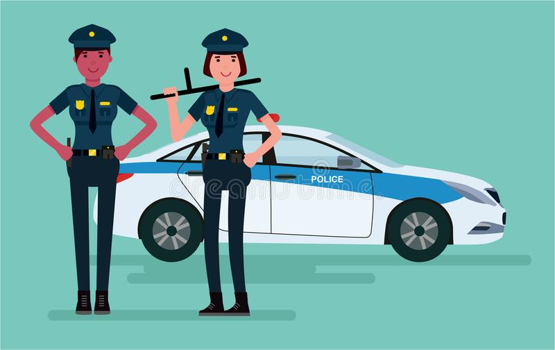 Vrouwenpolitiemannen Beschermers van orde De vector vlakke die illustratie van het beeldverhaalontwerp op witte achtergrond wordt stock illustratie