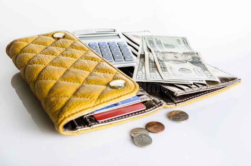 Vrouwenportefeuille en geld stock afbeeldingen