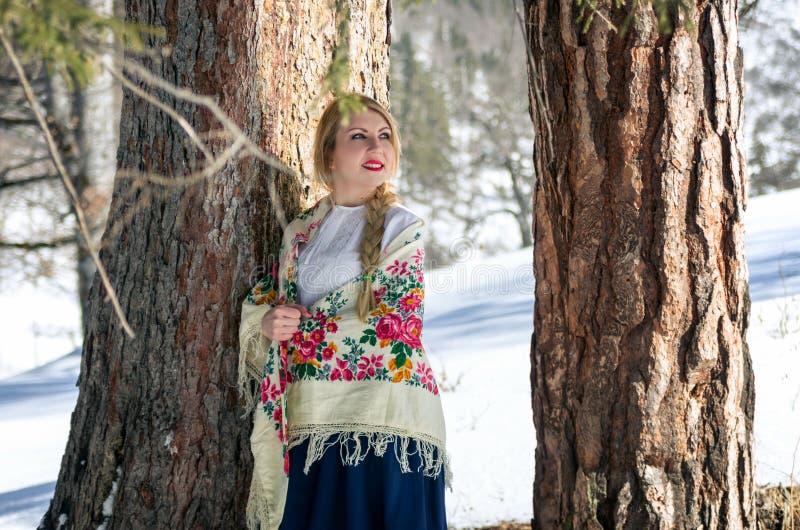 Vrouwenportret in de sneeuw royalty-vrije stock afbeeldingen