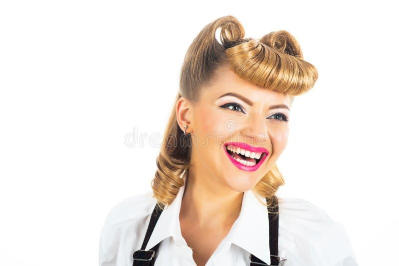 Vrouwenportret met glimlach Gelukkig meisje Vrouwelijke gezichts dichte omhooggaand stock afbeelding