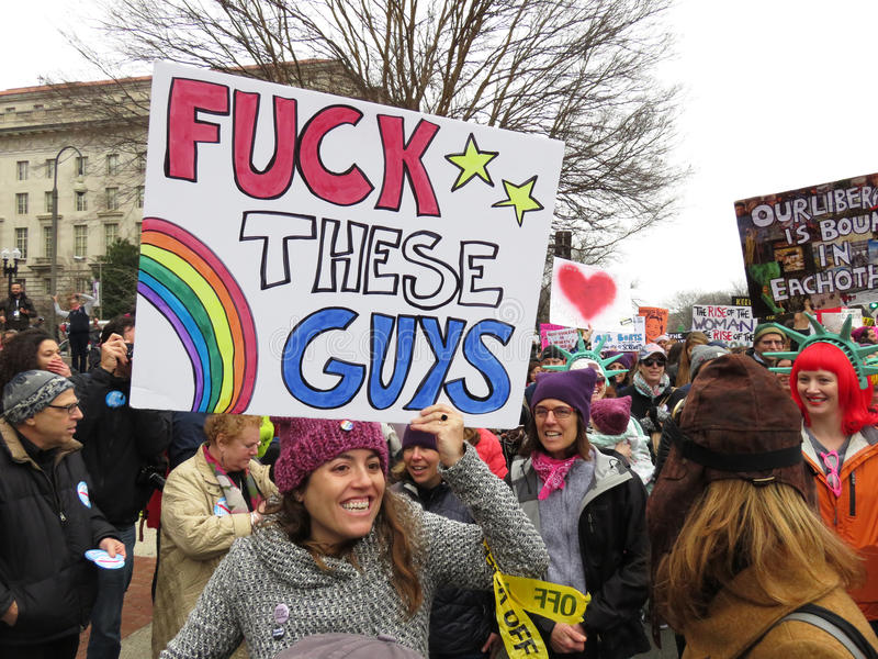 Vrouwenprotesteerder bij de Vrouwen ` s Maart royalty-vrije stock fotografie