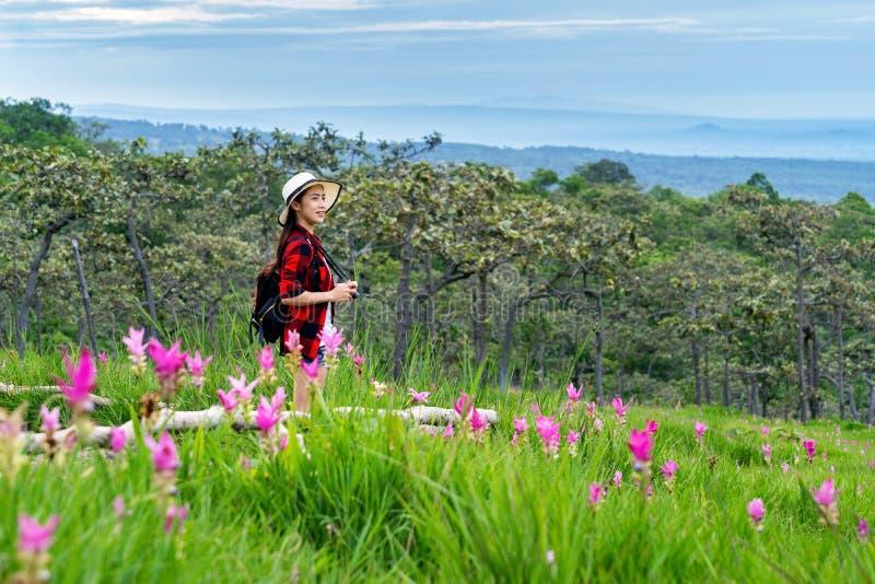 Vrouwenreiziger die met rugzak bij Krachiew-bloemgebied genieten van, Thailand reis concept stock afbeelding