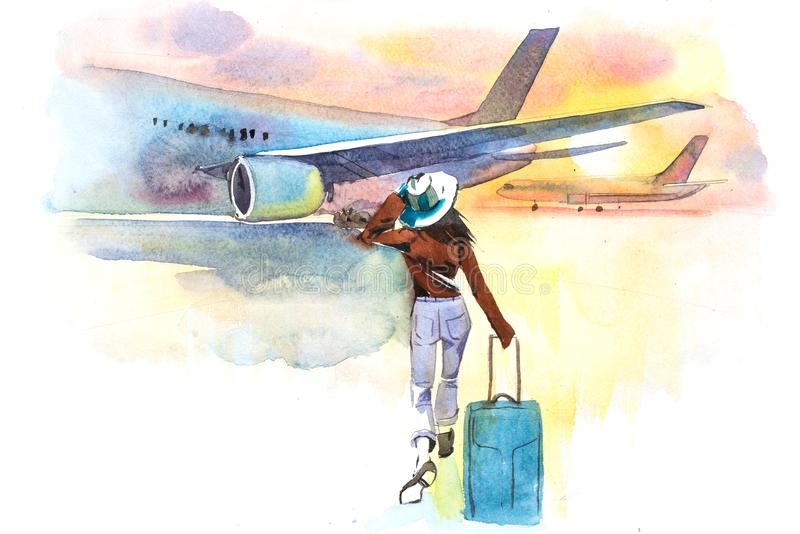 Vrouwenreiziger het inschepen vliegtuig, achtermening vertrek Meisje bij een luchthaven ongeveer om een vliegtuig in te schepen vector illustratie