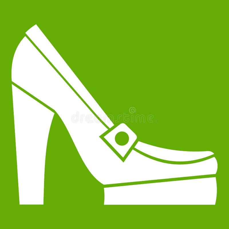 Vrouwenschoenen op groen platformpictogram royalty-vrije illustratie