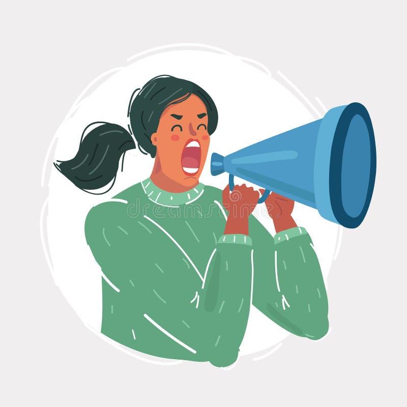 Vrouwenschreeuw uit met megafoon stock illustratie