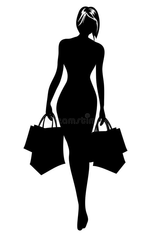 Vrouwensilhouet in het winkelen royalty-vrije illustratie