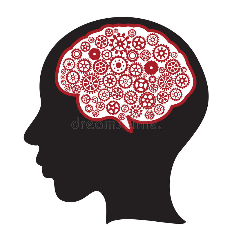 Vrouwensilhouet met het denken van hersenen vector illustratie