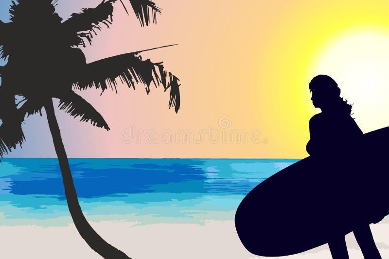 Vrouwensilhouet met surfplank vector illustratie