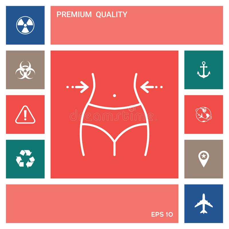 Vrouwentaille, gewichtsverlies, dieet, taille - lijnpictogram royalty-vrije illustratie