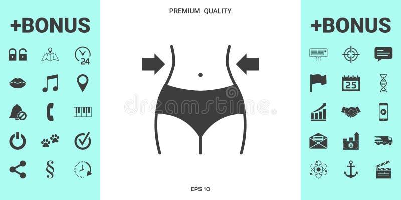Vrouwentaille, gewichtsverlies, dieet, taillepictogram stock illustratie