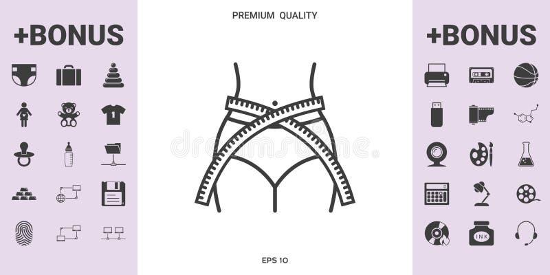 Vrouwentaille met het meten van band, gewichtsverlies, dieet, taille - lijnpictogram vector illustratie