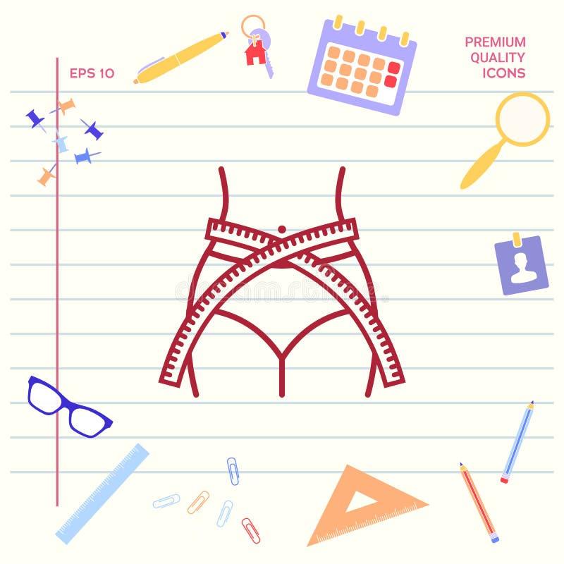 Vrouwentaille met het meten van band, gewichtsverlies, dieet, taille - lijnpictogram Grafische elementen voor uw ontwerp vector illustratie