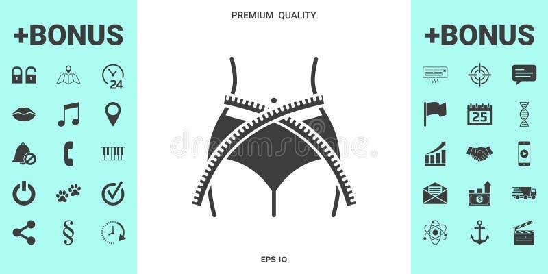Vrouwentaille met het meten van band, gewichtsverlies, dieet, taille - pictogram stock illustratie