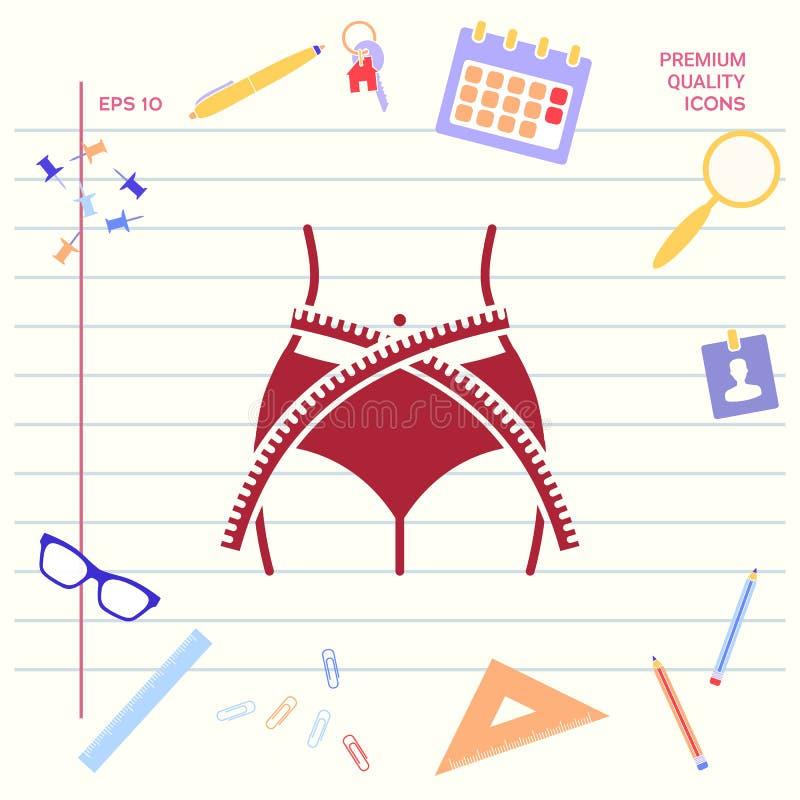Vrouwentaille met het meten van band, gewichtsverlies, dieet, taille - pictogram Grafische elementen voor uw ontwerp stock illustratie