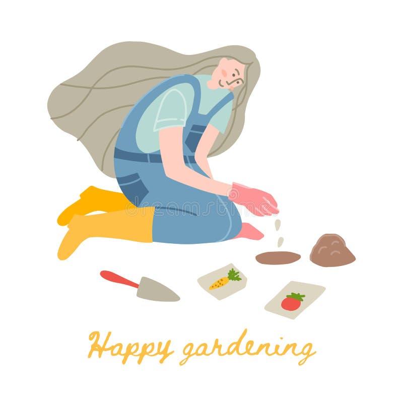 Vrouwentuinman die zaden planten stock illustratie