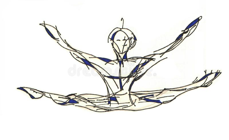 Vrouwenturner of danser die in de lucht springen stock foto's