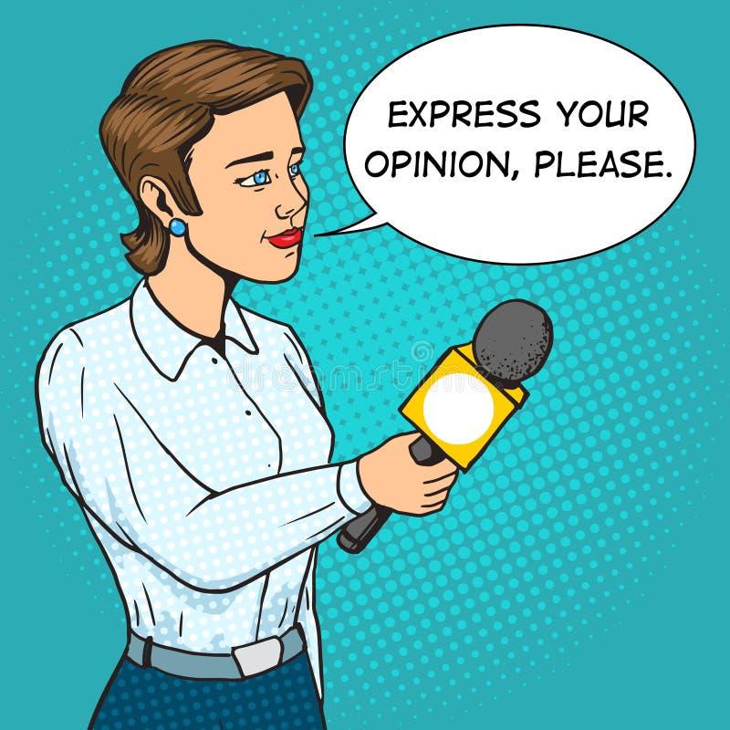 Vrouwenverslaggever met vector van het microfoon de grappige boek royalty-vrije illustratie