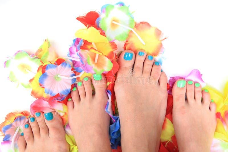 Vrouwenvoeten en bloemen (pedicure tbackground) royalty-vrije stock afbeelding