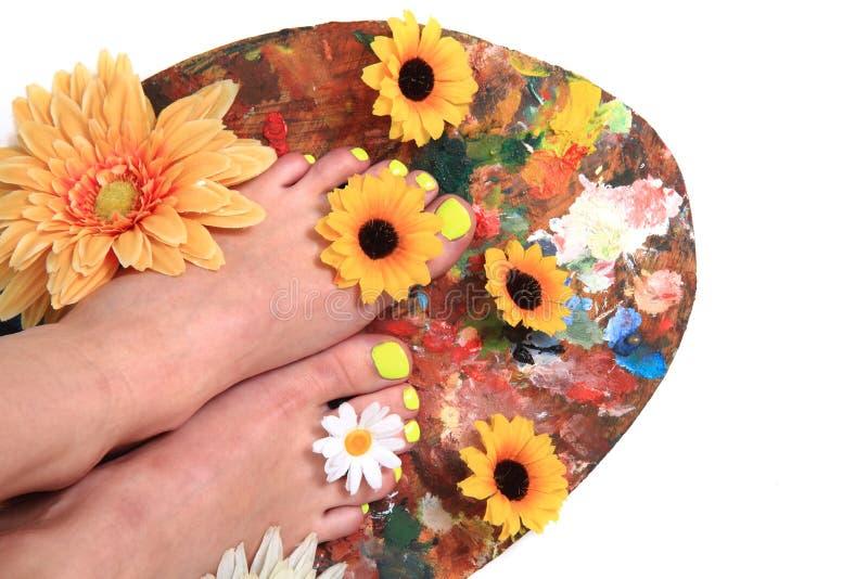 Vrouwenvoeten en bloemen (pedicure tbackground) royalty-vrije stock foto's