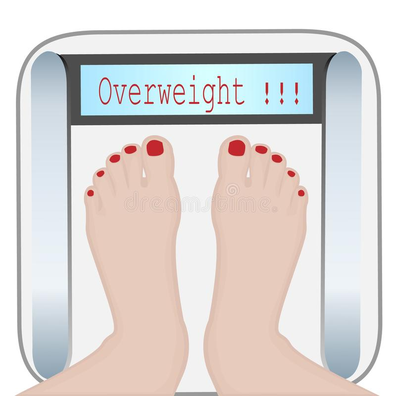 Vrouwenvoeten op een Gewichtsmachine Te zwaar royalty-vrije illustratie