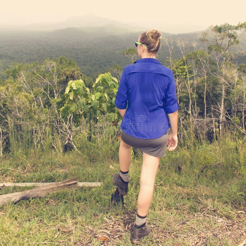 Vrouwenwandelaar die bos overzien stock afbeelding