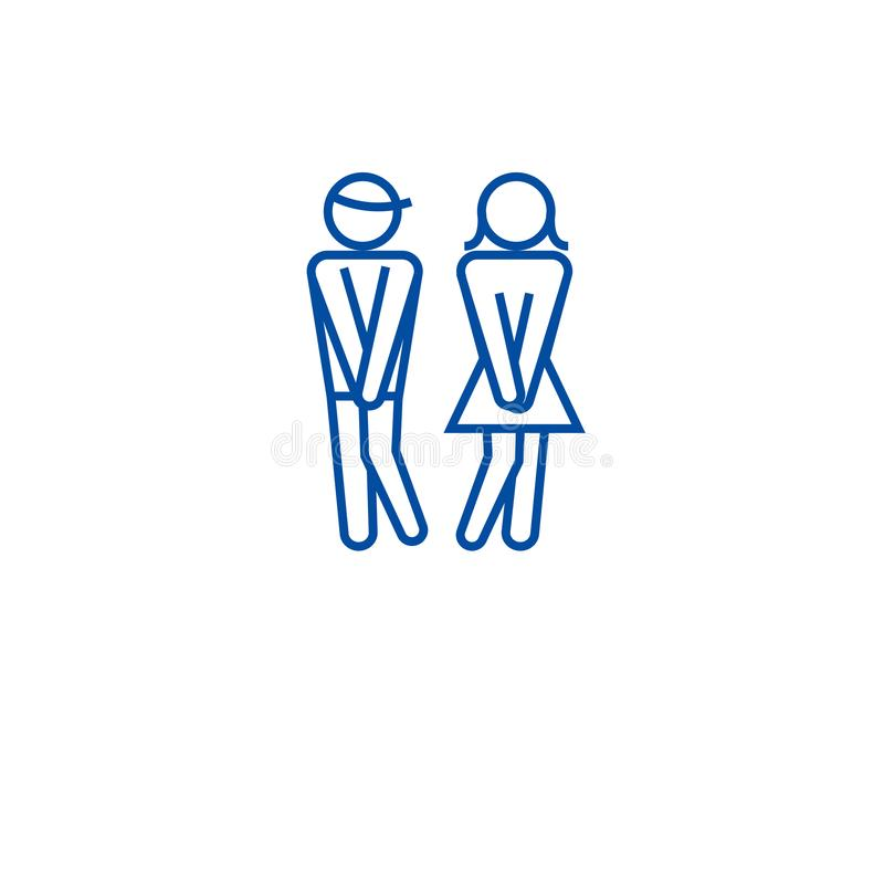 Vrouwenwc, man het pictogramconcept van de toiletlijn Vrouwenwc, man toilet vlak vectorsymbool, teken, overzichtsillustratie vector illustratie