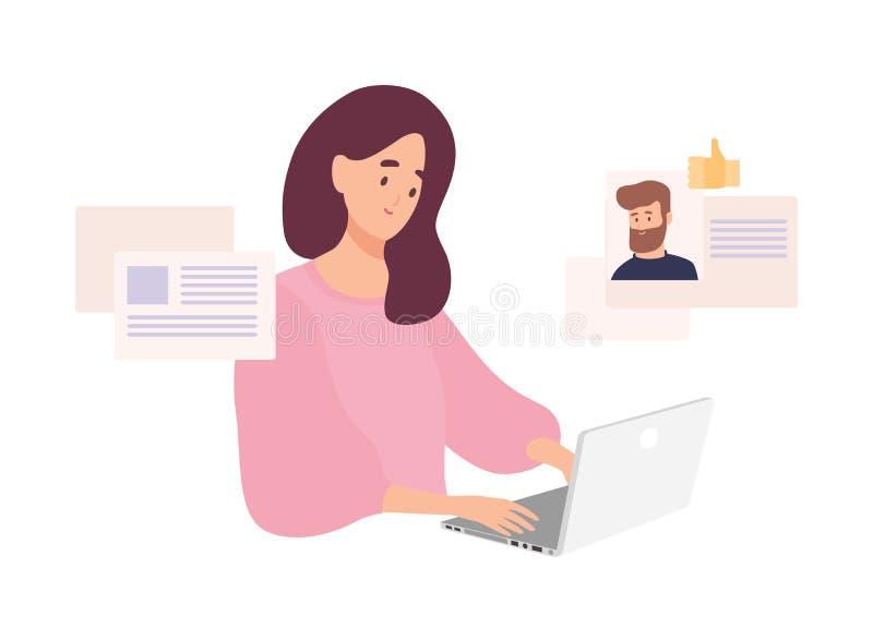 Vrouwenzitting bij laptop en het gebruiken van website voor het dateren of het zoeken naar liefde of romantische partner op Inter stock illustratie