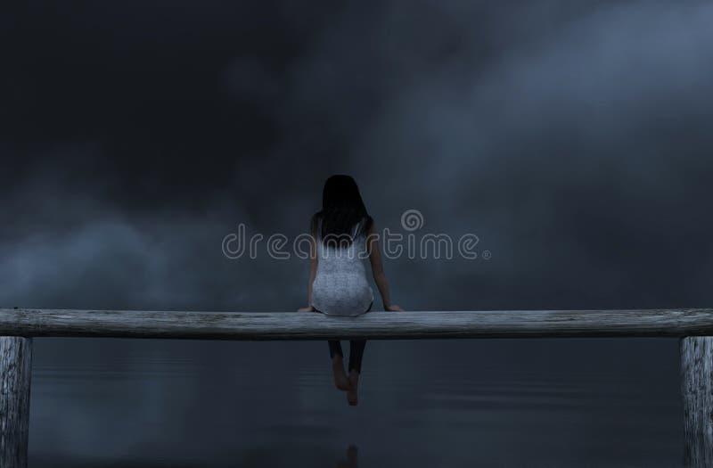 Vrouwenzitting op houten omheining in dark royalty-vrije illustratie
