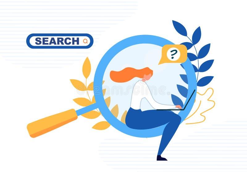 Vrouwenzoeken voor Informatie via Laptop Banner stock illustratie