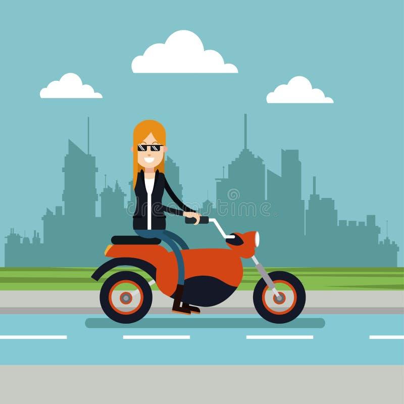 Vrouwenzonnebril die motorfiets stedelijke achtergrond drijven stock illustratie