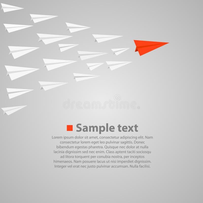 Vrowd degli aeroplani di carta con un capo illustrazione di stock
