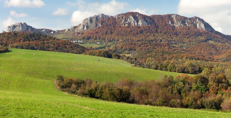 Vrsatec and Vrsatecke Podhradie villag - Slovakia. Autumnal panoramic view of Vrsatec and Vrsatecke Podhradie village - Slovakia stock photo