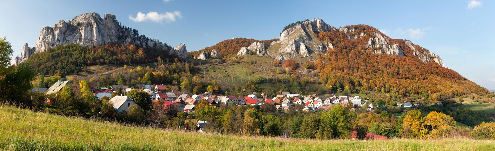 Vrsatec and Vrsatecke Podhradie village - Slovakia. Autumnal panoramic view of Vrsatec and Vrsatecke Podhradie village - Slovakia royalty free stock photography