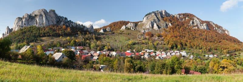 Vrsatec and Vrsatecke Podhradie village - Slovakia. Autumnal panoramic view of Vrsatec and Vrsatecke Podhradie village - Slovakia royalty free stock photos