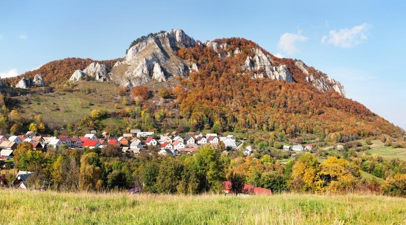 Vrsatec and Vrsatecke Podhradie village - Slovakia. Autumnal panoramic view of Vrsatec and Vrsatecke Podhradie village - Slovakia stock photos