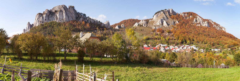 Vrsatec and Vrsatecke Podhradie village - Slovakia. Autumnal panoramic view of Vrsatec and Vrsatecke Podhradie village - Slovakia royalty free stock image